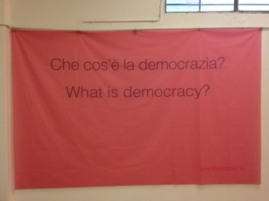 'What is democracy?' Here we ask our visitors to give answers in form of short video statement